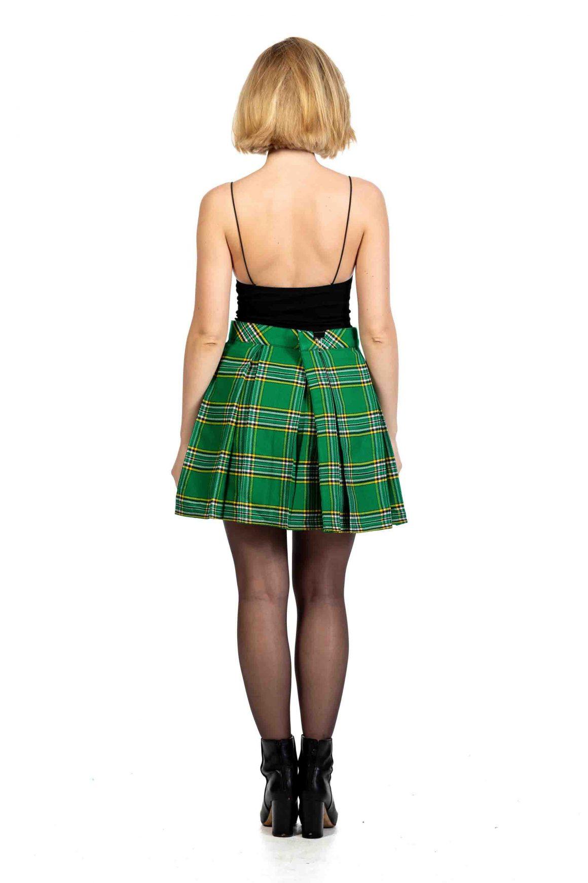 green tartan pleated skirt