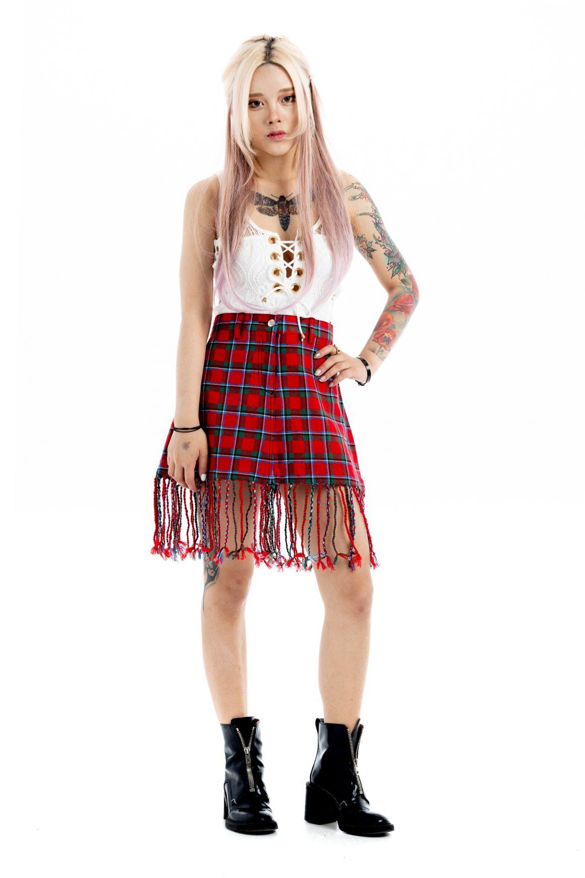 Fringe Tartan Skirt