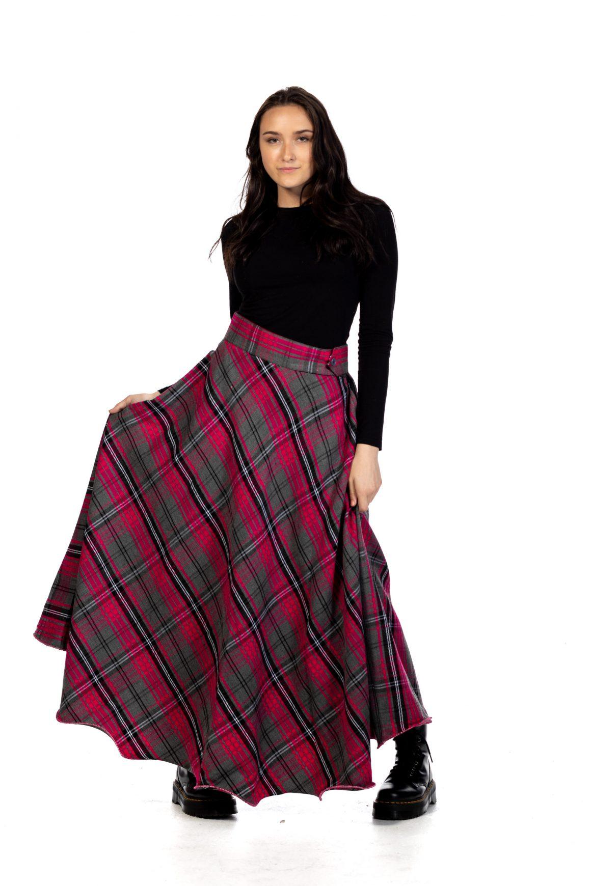 Long Plaid Skirt - Button Zipped2