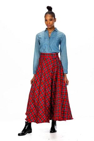 Long Tartan Skirt - Velcro