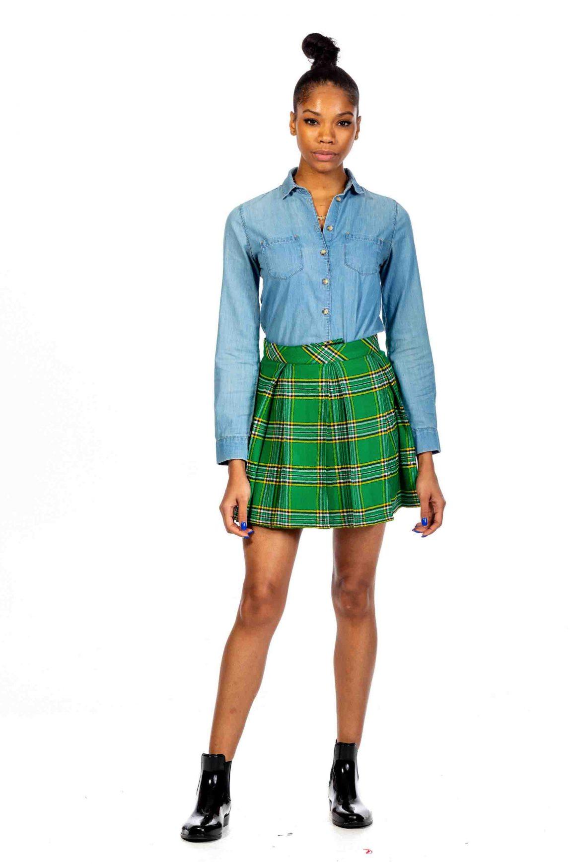 Box Pleated Tartan Skirt