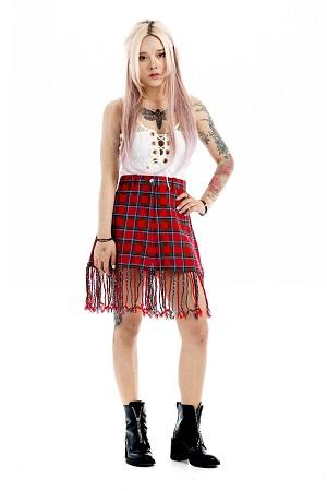 Fringe Tartan Skirt (2)