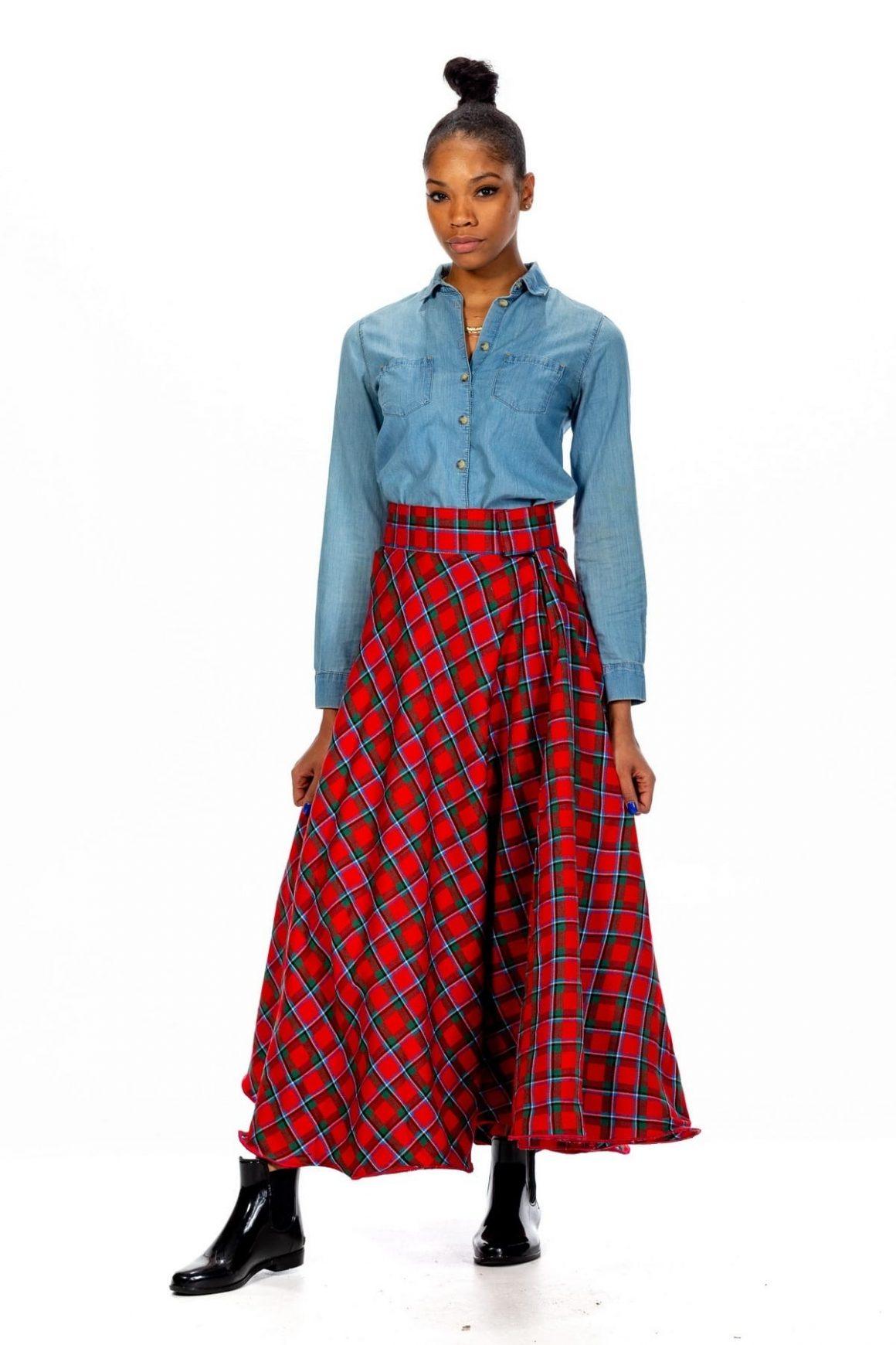 Long Tartan Skirts - Velcro